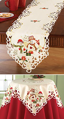 Collections Etc Snowman Couple Christmas Table Linens by Collections Etc