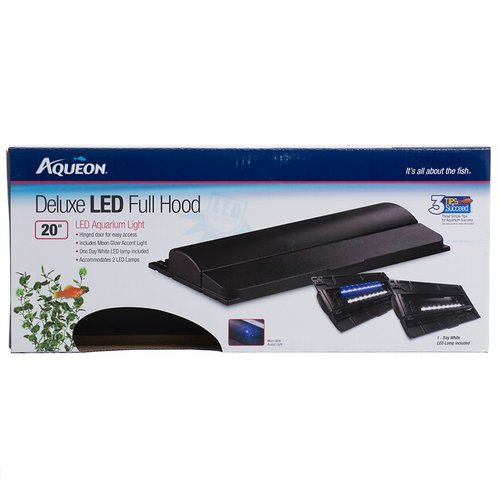 "Aqueon Deluxe LED Full Hood for Aquariums 20"" Hood - 2 Watts - (Fits Aquarium Sizes 10, 20X)"