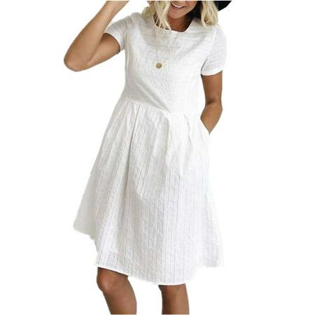 Lady Girls Elegant Dress Short Sleeve O-neck Slim Party Dresses](Girls Teal Party Dress)