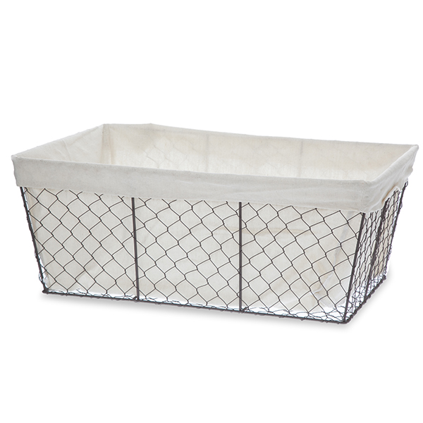 Stella Rect Wire Basket with Cloth Liner - Large 20in