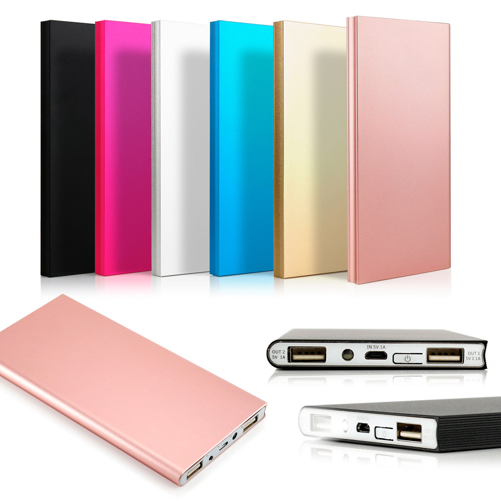 20000mah Double USB Ultra Thin Portable External Battery Charger Power Bank for Mobile Cell Phone iPhone - Black