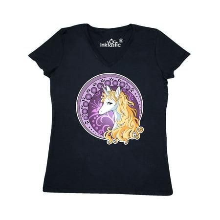 Nouveau Top - Unicorn in a Circle Inspired by Art Nouveau Women's V-Neck T-Shirt