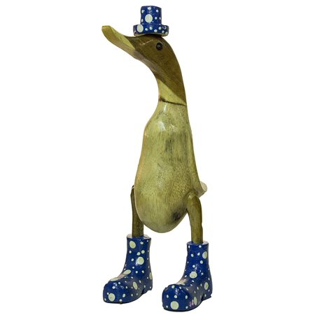 95 Inch Hand Painted Wooden Duck Figurine With Brightly Colored Polka Dot Rain Boots
