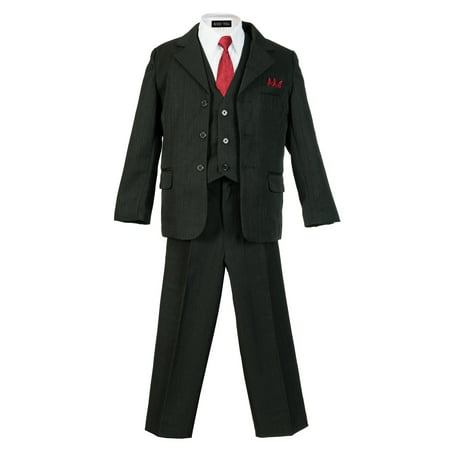 (Avery Hill Boys Pinstripe Suit Set with Matching Tie)