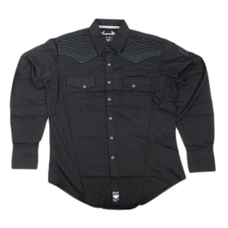 Mens Wrangler Rock 47 Western Long Sleeve Pearl Snap Shirt MRC138X (Western Rock)
