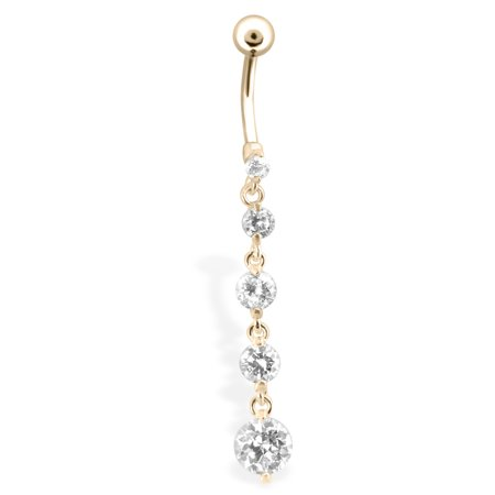 Gold Tone Belly Ring With 5 Clear Cascading Gems