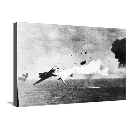 Japanese Kamikaze Plane Shot Down by a US Warship, 1940S Stretched Canvas Print Wall