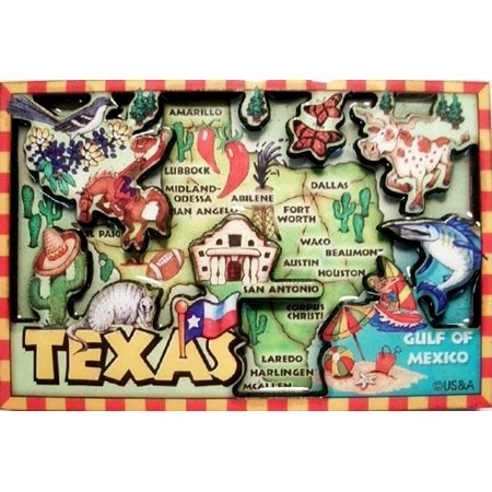 Texas Cartoon Map Fridge Magnet ()