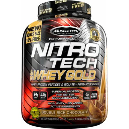 NitroTech Whey Gold, 100% Whey Protein Powder, Whey Isolate and Whey Peptides, Double Rich Chocolate, 76 Servings (5.5lbs)