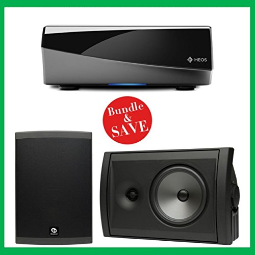 Denon HEOS Wireless Amplifier & 2 Boston Acoustics Voyager 70 Outdoor Speakers Bundle (Black)
