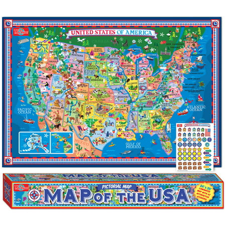 T.S. Shure Pictorial Map of The U.S.A., Laminated Poster With