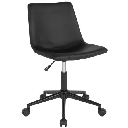 Home and Office Armless Task Chair with Double Line Stitch Detail in Black Leather