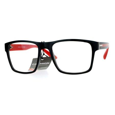 SA106 Mens Color Arm Horn Rim Horned Nerdy Glasses (Red Rimmed Glasses)