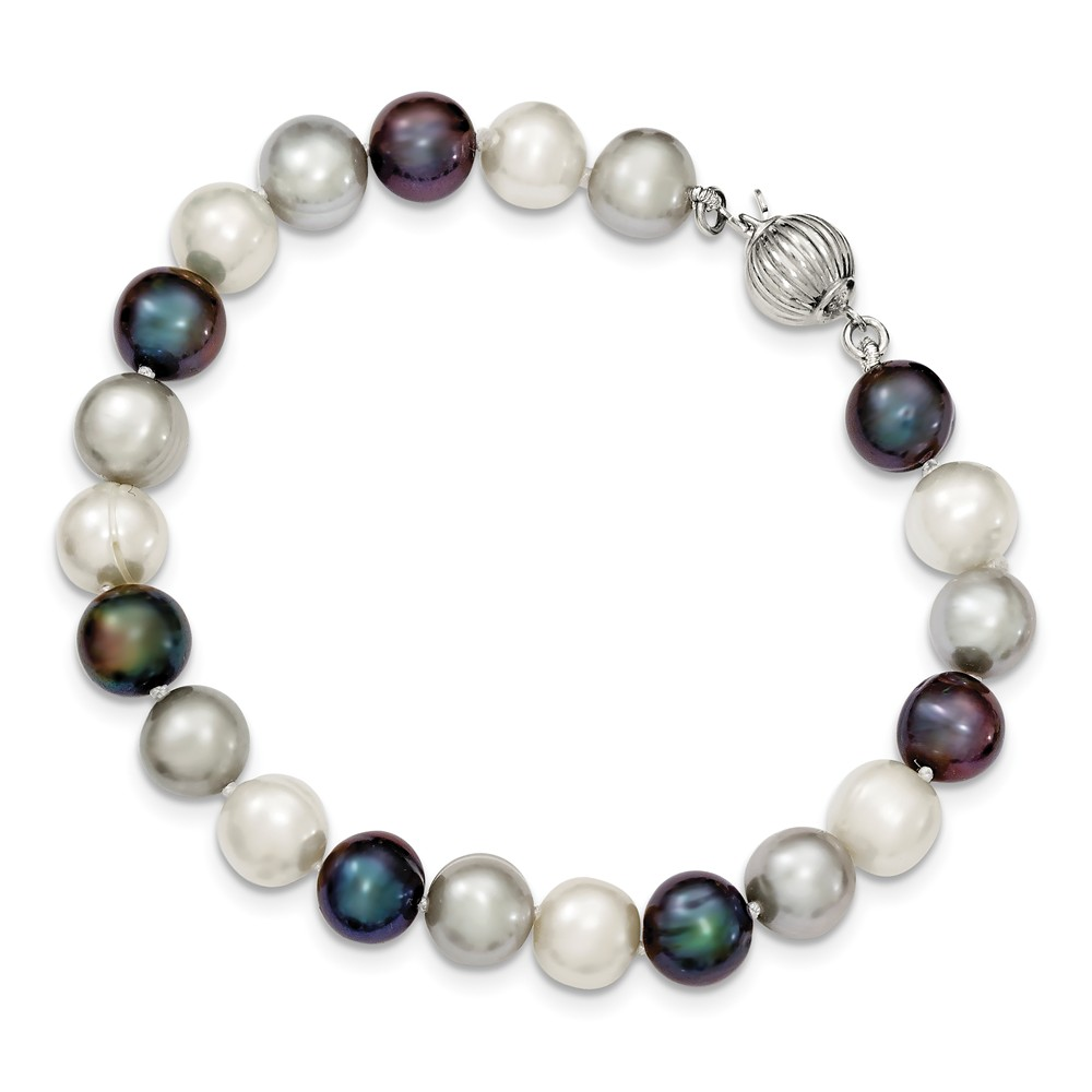 Sterling Silver 7.5in 8-8.5mm Freshwater White/Platinum/Black Pearl Bracelet