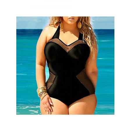 552cb2f86e928 Girl12Queen - Women Sexy Plus Size Swimsuit Retro Padded One-Piece Bikini  Swimwear Black Monokini - Walmart.com