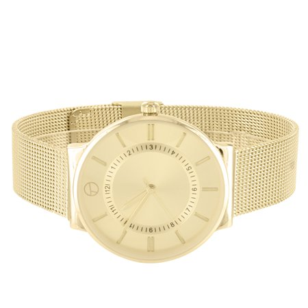 Gold Tone Round Face Watch Techno Pave Analog Mesh Bracelet Band Stainless Steel Back