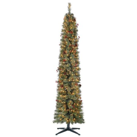 Home Heritage Stanley 7 Ft Skinny Pencil Pine Pre Lit & Decorated Christmas Tree ()