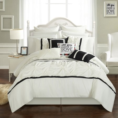 Chic Home 16-Piece Legaspi Floral Pinch Pleat Ruffled Designer Embellished King Bed In a Bag Comforter Set White With sheet (King Bed In A Bag Comforter Sets)