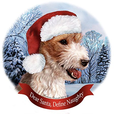 Holiday Pet Gifts Wire Haired Fox Terrier Santa Hat Dog Porcelain Christmas Tree