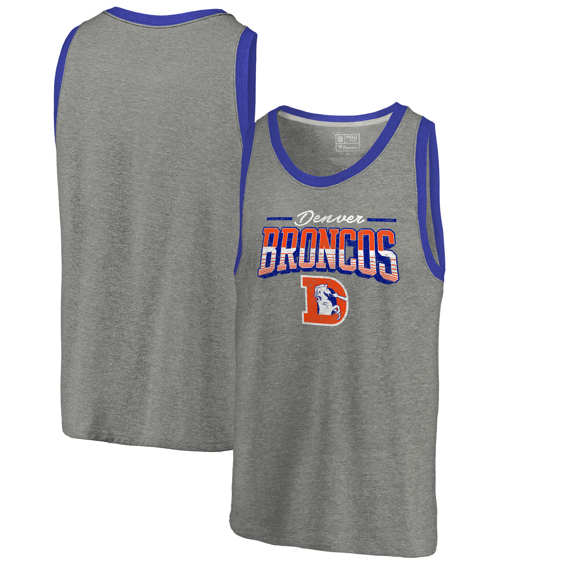 Denver Broncos NFL Pro Line by Fanatics Branded Throwback Collection Season Ticket Tri-Blend Tank Top - Heathered Gray