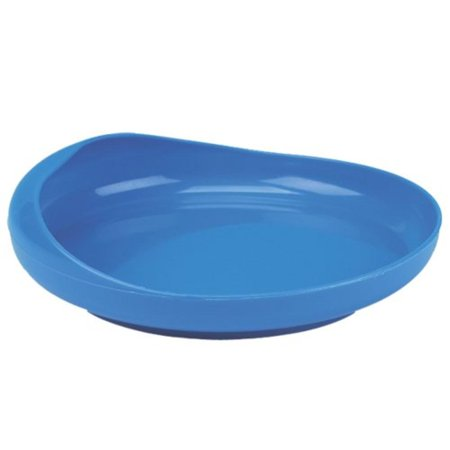 Maddak Scooper Eating Plate, Blue (745350010), High rim with inner curve helps prevents spills and assists in pushing food onto the utensil By SP Ableware