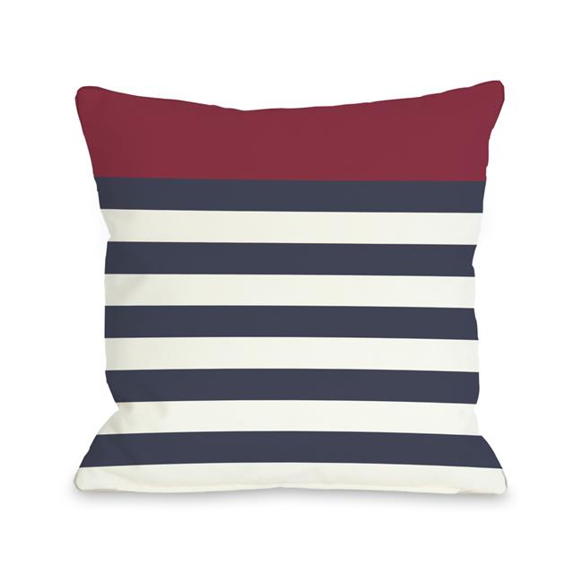 Nautical Stripes - Red 16x16 Pillow by OBC