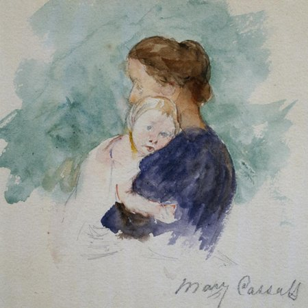 Watercolor of Mother and Child by Mary Cassatt Impressionist Portrait Sketch Painting Print Wall Art By Geoffrey Clements