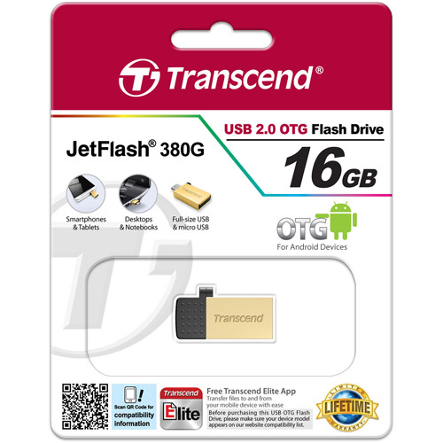 Transcend 16GB JetFlash 380 USB Flash Drive, Gold