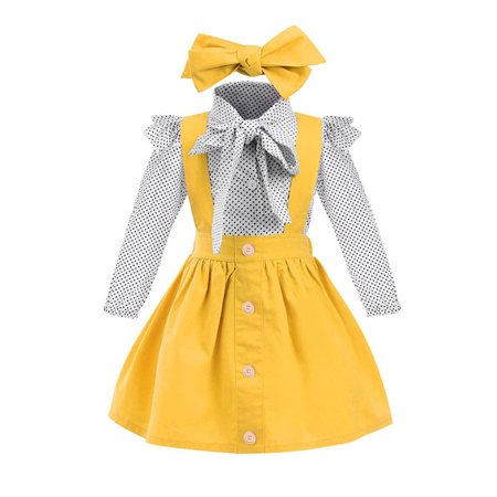 Show Girl Outfits (Lavaport 3Pcs/set Kid Girls Summer Cotton Blend Polka Dot Print Shirt + Strap Skirt + Headband Cute Girls Clothes)