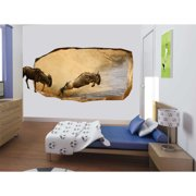 Startonight 3D Mural Wall Art Photo Decor Bison Jump Amazing Dual View Surprise Wall Mural Wallpaper Bedroom Animals Large 47.24 '' By 86.61 ''