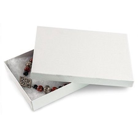 Retail Jewelry Gift - 10 Pack Cotton Filled Elegant White Color Jewelry, Gift and Retail Boxes 5.25 X 3.75 X 1 Inch Size, Elegant White Multi-use gift jewelry box.., By Regal Jewelry Displays