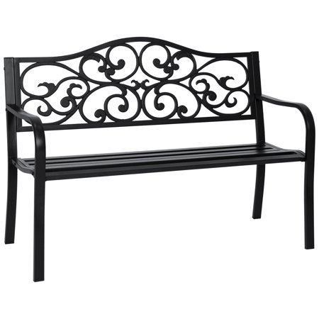 Best Choice Products 50in Classic Metal Garden Bench for Yard, Porch, Patio w/ Decorative Verdi Floral Scroll Design - Black Cross Back Garden Bench