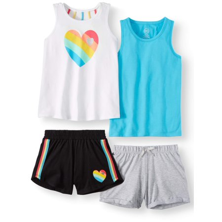 4f516feb3c96 Graphic and Solid Summer Tank Tops and Shorts, 4-Piece Mix & Match Outfit  Set (Little Girls & Big Girls)