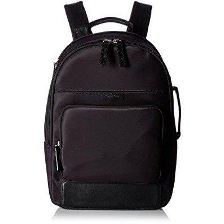 (calvin klein men's backpack smooth nylon with saffiano trim, black)
