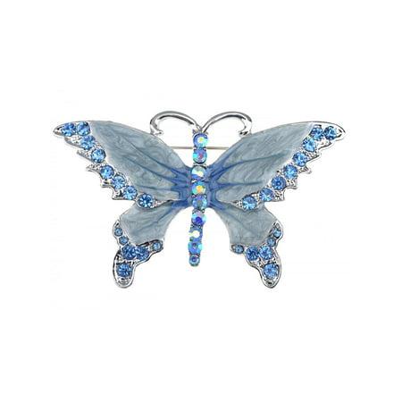 Blue Enamel Wing Crystal Rhinestone Costume Jewelry Butterfly Flying Pin Brooch