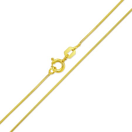 Thin Snake Link Chain 1 mm 010 Gauge Women Necklace 14K Gold Plated Sterling Silver Made In Italy 14 16 18 20 24 Inch Coral Snake Pendant