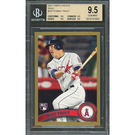 2011 Topps Update Gold Us175 Mike Trout Rookie Card Bgs 95 95