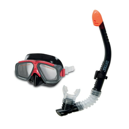 Intex Surf Rider Youth Swimming & Diving Mask Snorkel Set, Black/Red |