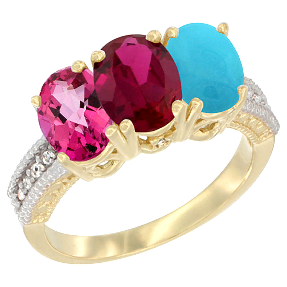 10K Yellow Gold Diamond Natural Pink Topaz, Enhanced Ruby & Turquoise Ring 3-Stone 7x5 mm Oval, sizes 5 10 by WorldJewels