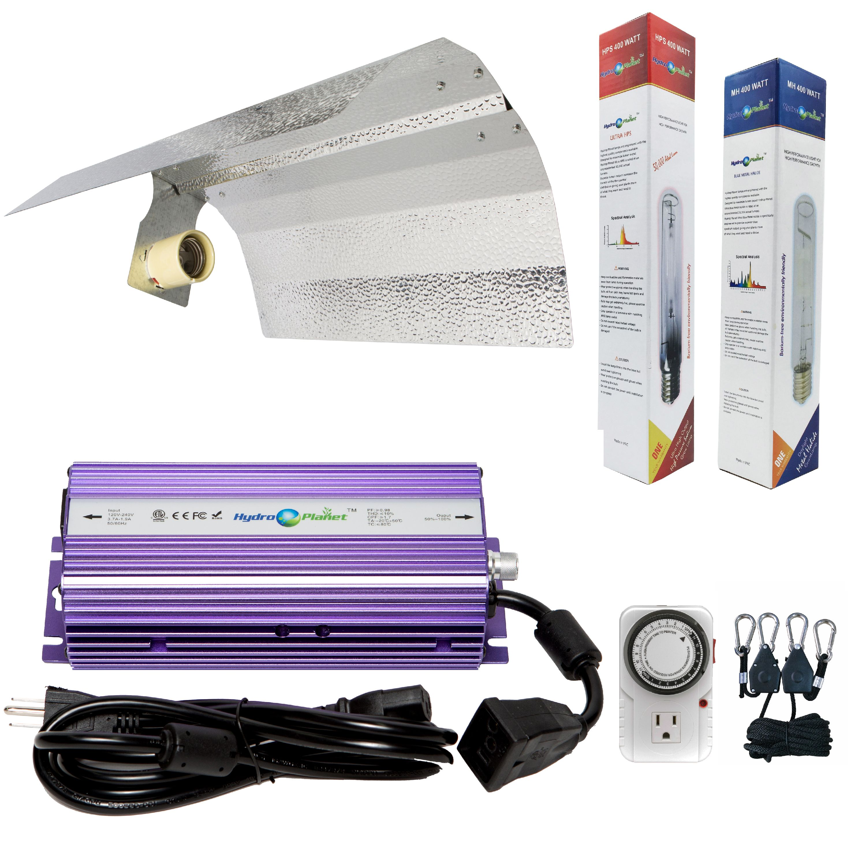 Hydroplanet™ 400w Hydroponic Grow Light Digital Dimmable Ballast HPS Mh for Plants Gull Wing Reflector Hood Set