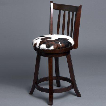Genuine Leather Cowhide Hair On Wooden Leg Bar Stool Chair