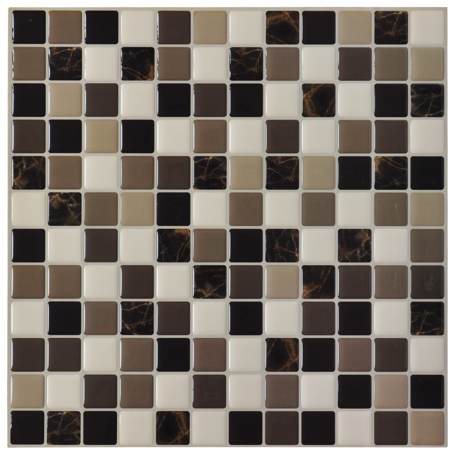"Art3d 6-Pack Backsplash Tile for Kitchen Marble Square Peel and Stick Tile, 12"" x 12"""