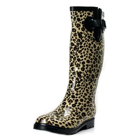 Fuchsia Rubber Wellies - OwnShoe Womens Mid Calf Leopard Print Rain Boots Wellies
