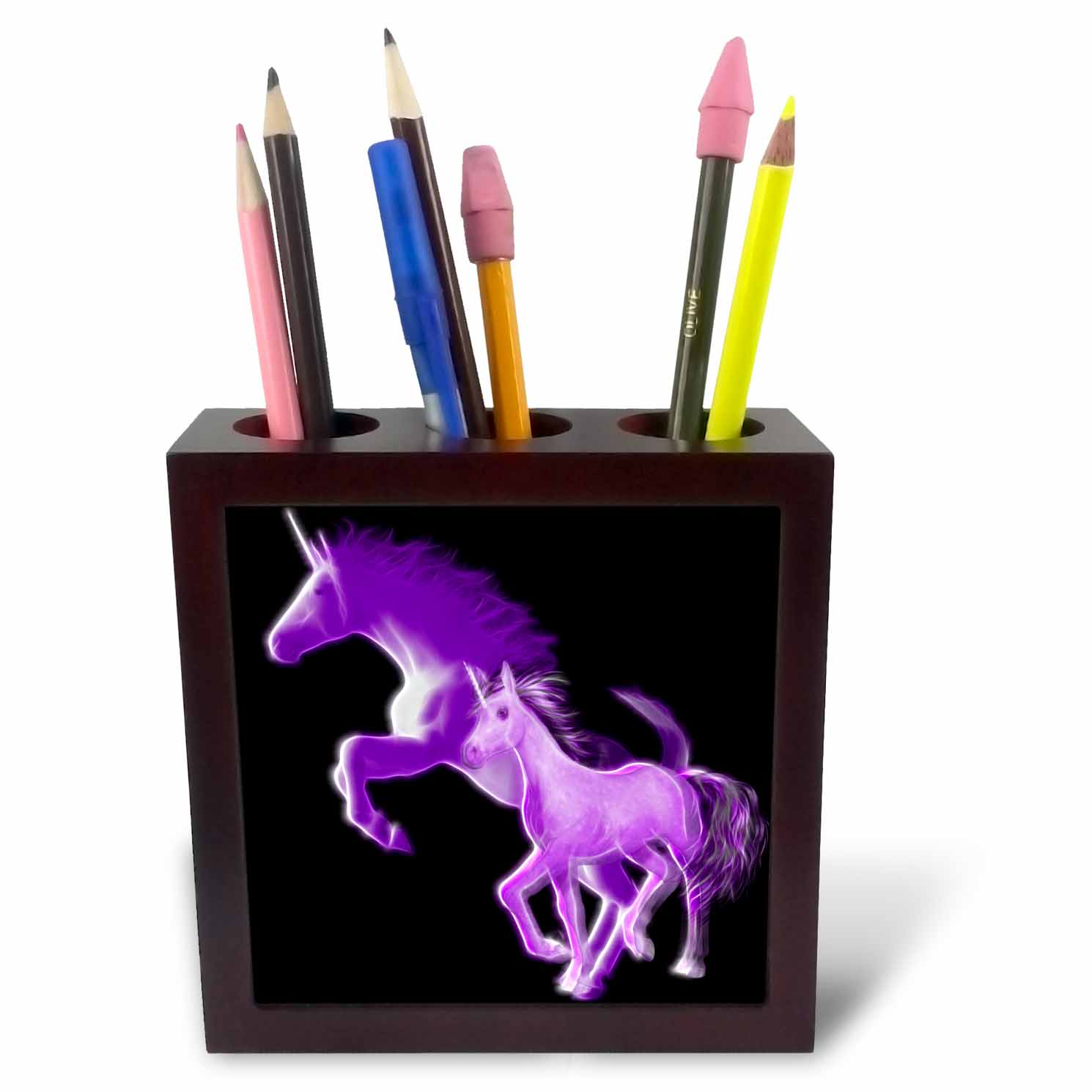 3dRose Fractal Color Outlined Purple Unicorns, Tile Pen Holder, 5-inch