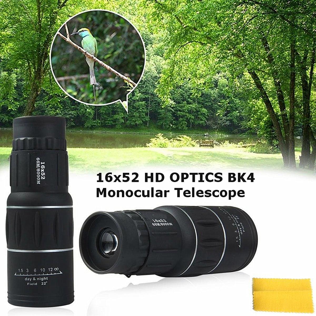16X52 Focus Zoom Portable Travelling HD OPTICS BAK4 Monocular Telescope