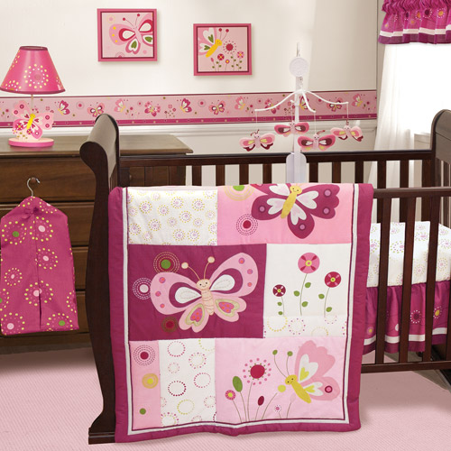 Bedtime Originals by Lambs & Ivy - Pink Butterfly 3-Piece Crib Bedding Set