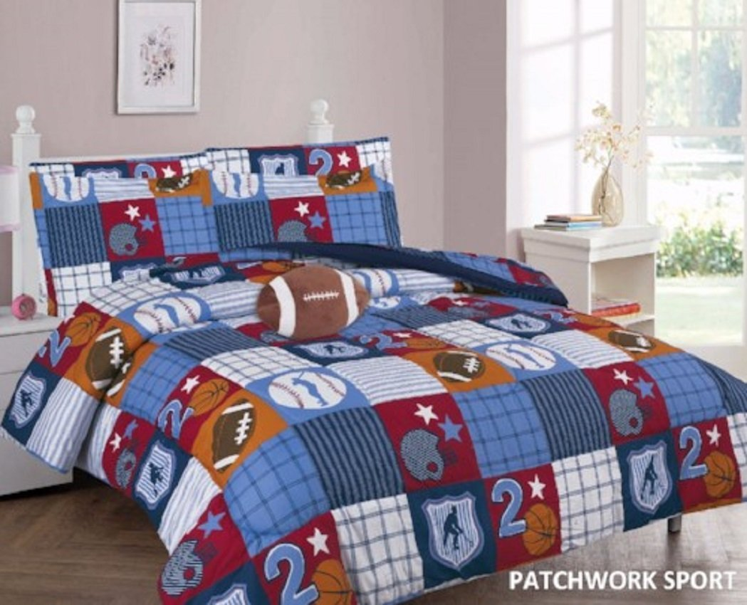 WPM Patch Work Blue Sports Base/basket/foot Ball Print Bedding Set Choose  From