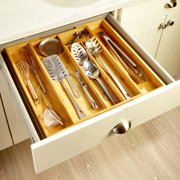 Expandable Cutlery Organizer - Bamboo Drawer Divider for Knives, Cooking Sppons