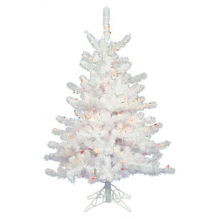 Vickerman Pre-Lit 3' Crystal White Artificial Christmas Tree, LED, Warm White Lights ()