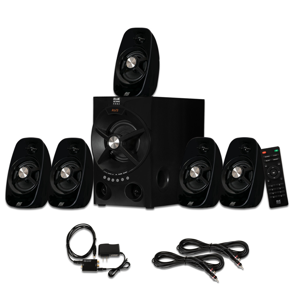 Blue Octave B54 Home Theater 5.1 Bluetooth Speaker System with Optical Input USB and 2 Ext. Cables